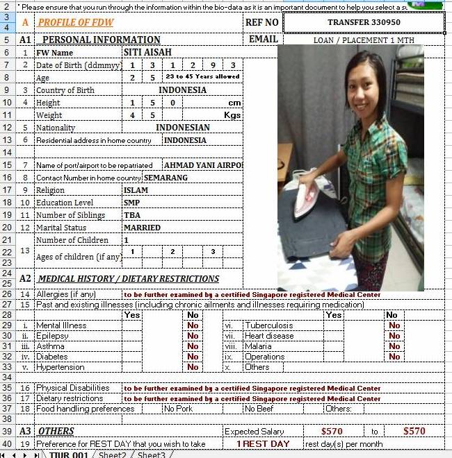 TRANSFER - IMMEDIATE SITI AISAH - HOUSEKEEPING, COOK, CHILD CARE, ELDERLY CARE