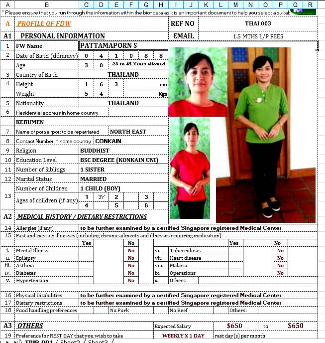 THAI MAID - PATTAMAPORN 30 YEARS - COOK / CARE INFANT & CHILD OK